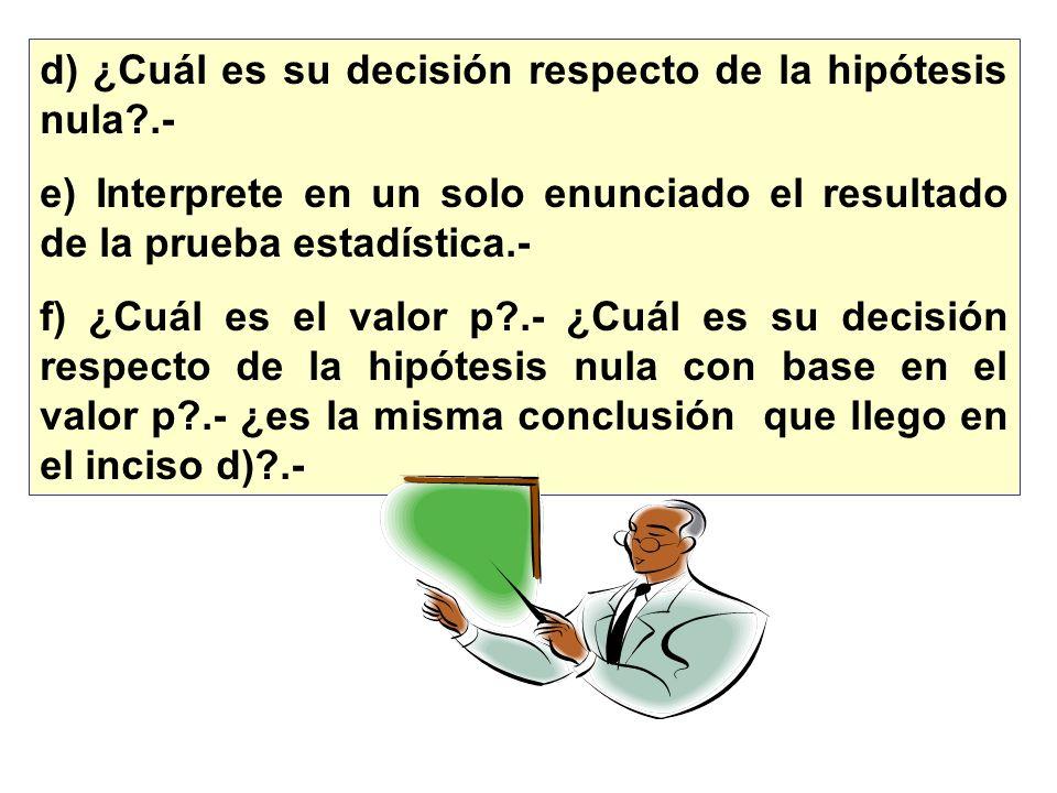 d) ¿Cuál es su decisión respecto de la hipótesis nula .-