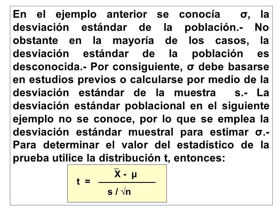 En el ejemplo anterior se conocía σ, la desviación estándar de la población.- No obstante en la mayoría de los casos, la desviación estándar de la población es desconocida.- Por consiguiente, σ debe basarse en estudios previos o calcularse por medio de la desviación estándar de la muestra s.- La desviación estándar poblacional en el siguiente ejemplo no se conoce, por lo que se emplea la desviación estándar muestral para estimar σ.- Para determinar el valor del estadístico de la prueba utilice la distribución t, entonces: