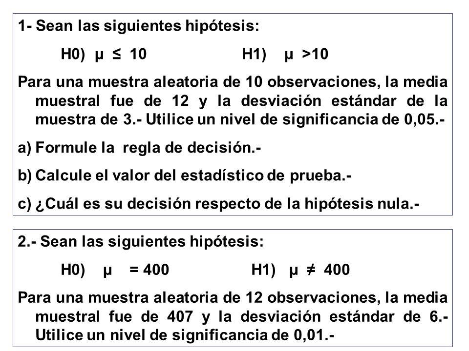 1- Sean las siguientes hipótesis: