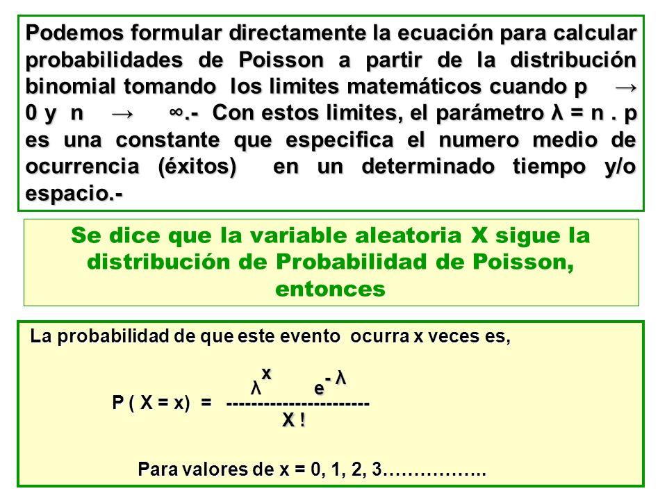 Podemos formular directamente la ecuación para calcular probabilidades de Poisson a partir de la distribución binomial tomando los limites matemáticos cuando p → 0 y n → ∞.- Con estos limites, el parámetro λ = n . p es una constante que especifica el numero medio de ocurrencia (éxitos) en un determinado tiempo y/o espacio.-