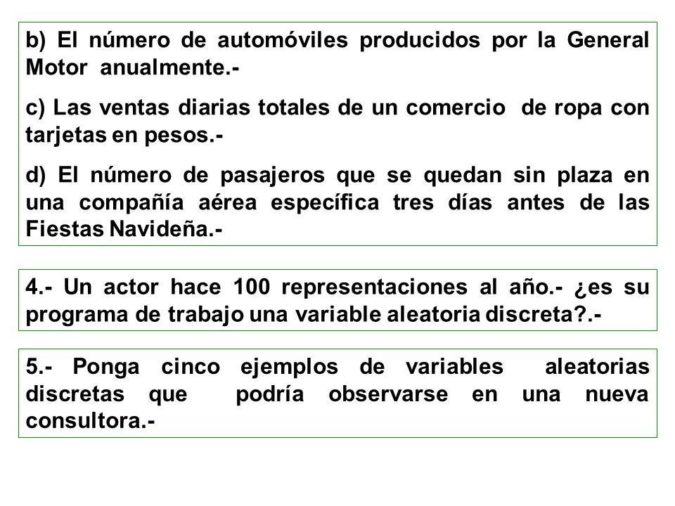 b) El número de automóviles producidos por la General Motor anualmente