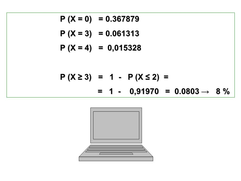 P (X = 0) = 0.367879P (X = 3) = 0.061313. P (X = 4) = 0,015328. P (X ≥ 3) = 1 - P (X ≤ 2) =