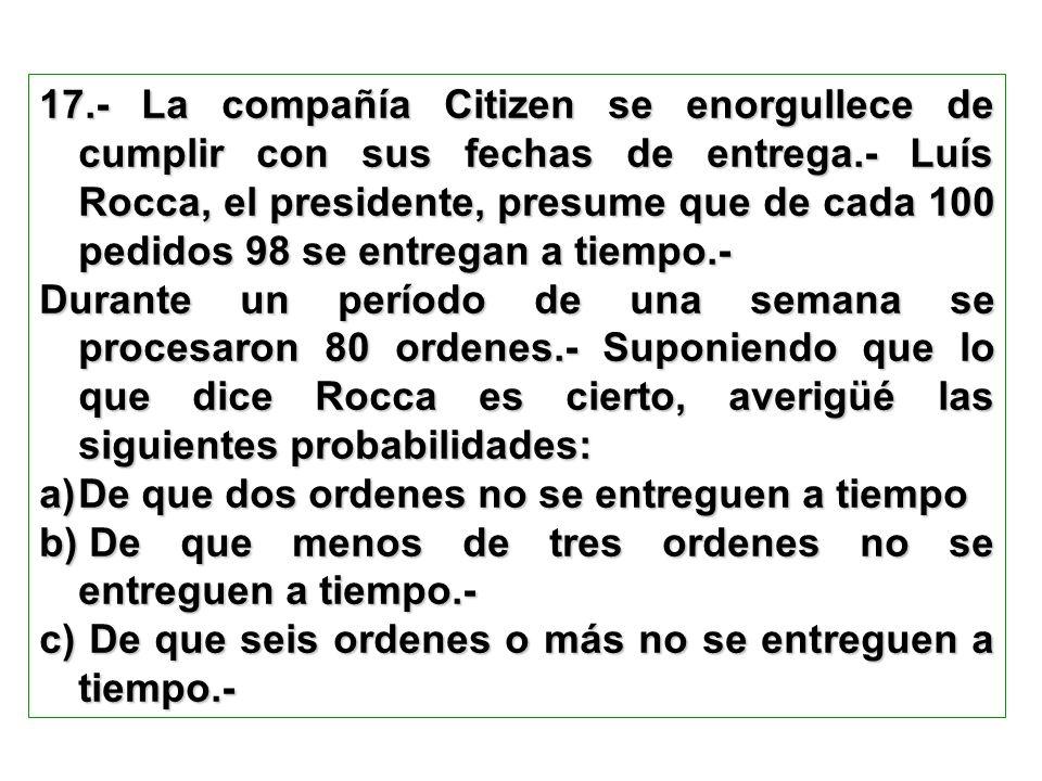 17.- La compañía Citizen se enorgullece de cumplir con sus fechas de entrega.- Luís Rocca, el presidente, presume que de cada 100 pedidos 98 se entregan a tiempo.-