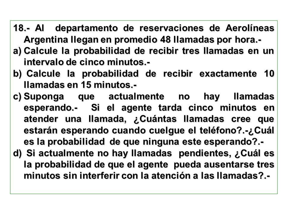 18.- Al departamento de reservaciones de Aerolíneas Argentina llegan en promedio 48 llamadas por hora.-