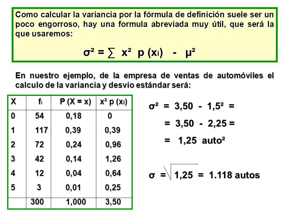 σ² = ∑ x² p (xi) - µ² σ² = 3,50 - 1,5² = = 3,50 - 2,25 = = 1,25 auto²