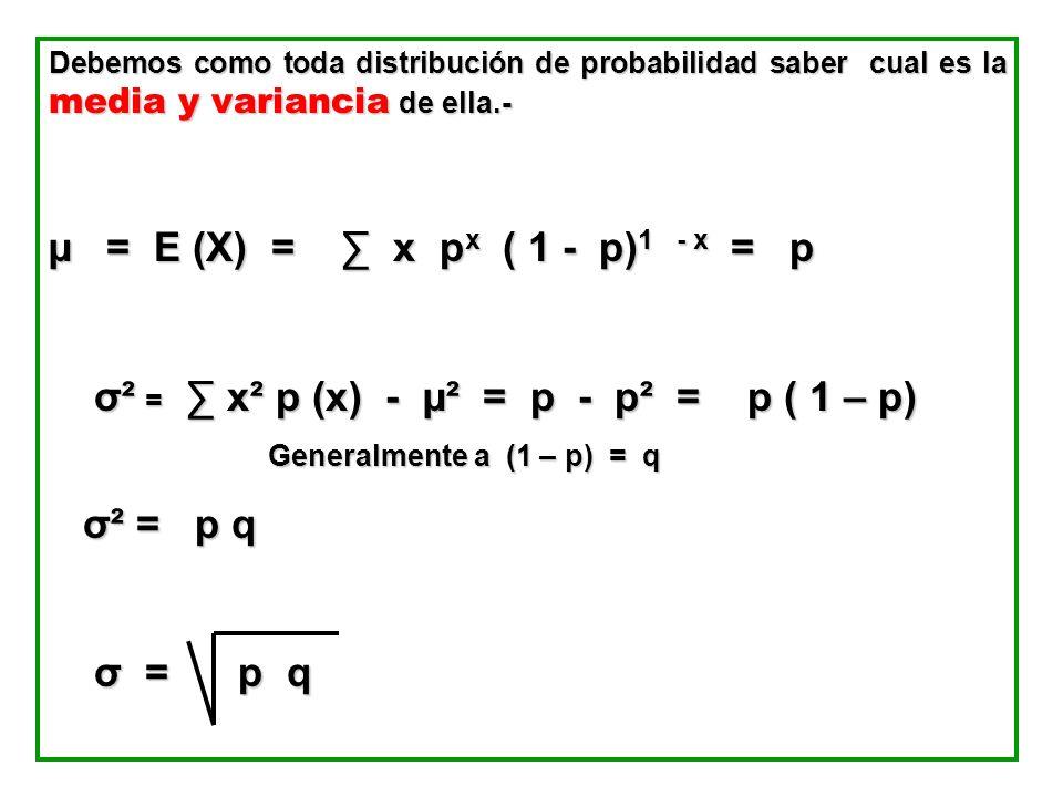 σ² = ∑ x² p (x) - µ² = p - p² = p ( 1 – p)