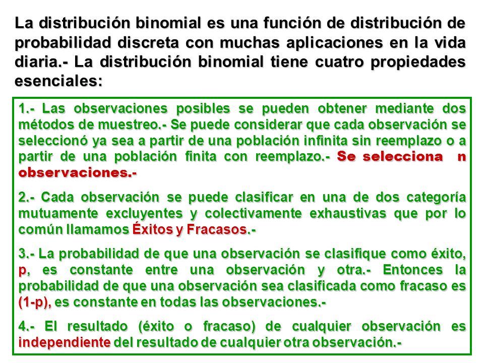 La distribución binomial es una función de distribución de probabilidad discreta con muchas aplicaciones en la vida diaria.- La distribución binomial tiene cuatro propiedades esenciales: