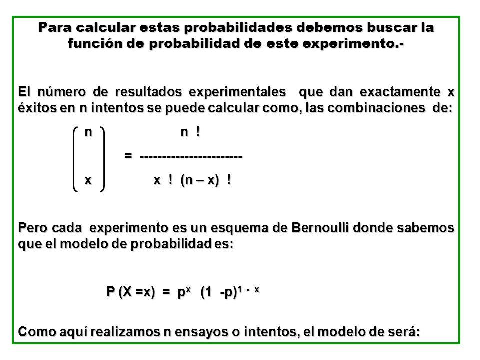 Para calcular estas probabilidades debemos buscar la función de probabilidad de este experimento.-