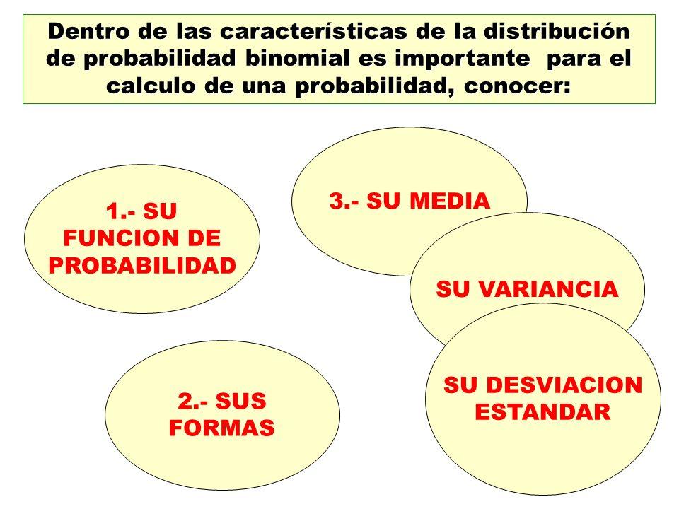 Dentro de las características de la distribución de probabilidad binomial es importante para el calculo de una probabilidad, conocer: