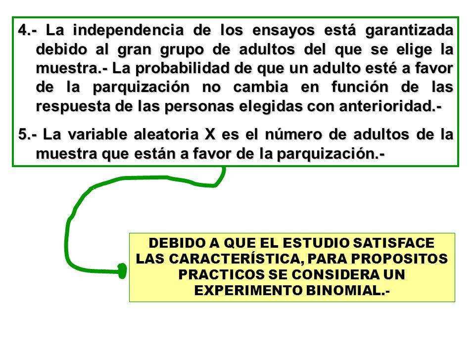 4.- La independencia de los ensayos está garantizada debido al gran grupo de adultos del que se elige la muestra.- La probabilidad de que un adulto esté a favor de la parquización no cambia en función de las respuesta de las personas elegidas con anterioridad.-