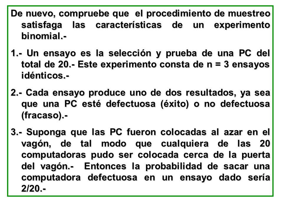 De nuevo, compruebe que el procedimiento de muestreo satisfaga las características de un experimento binomial.-
