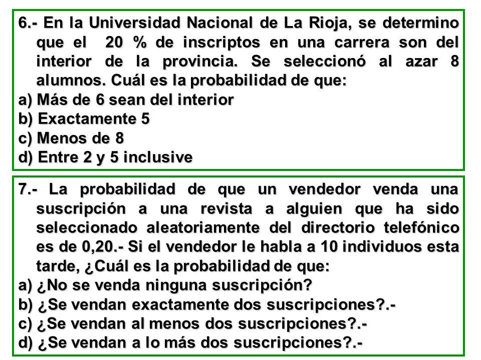 6.- En la Universidad Nacional de La Rioja, se determino que el 20 % de inscriptos en una carrera son del interior de la provincia. Se seleccionó al azar 8 alumnos. Cuál es la probabilidad de que: