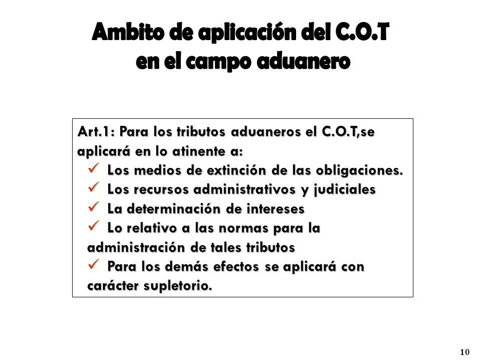 Ambito de aplicación del C.O.T