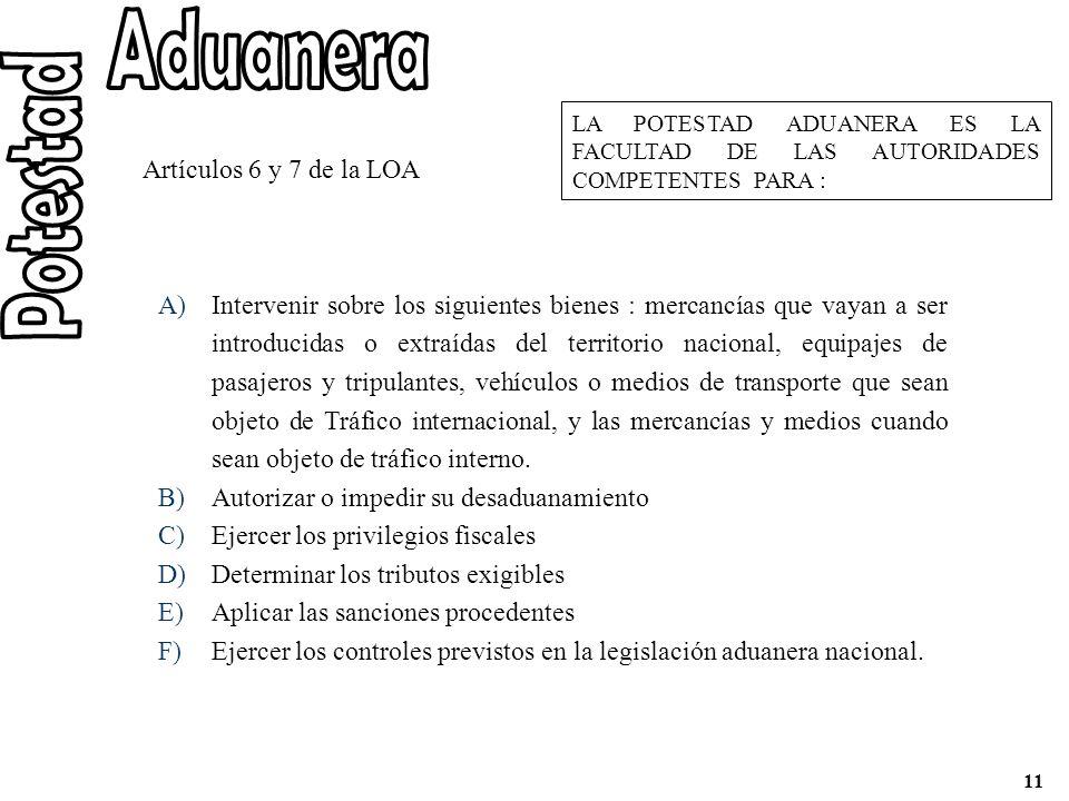 Aduanera Potestad Artículos 6 y 7 de la LOA