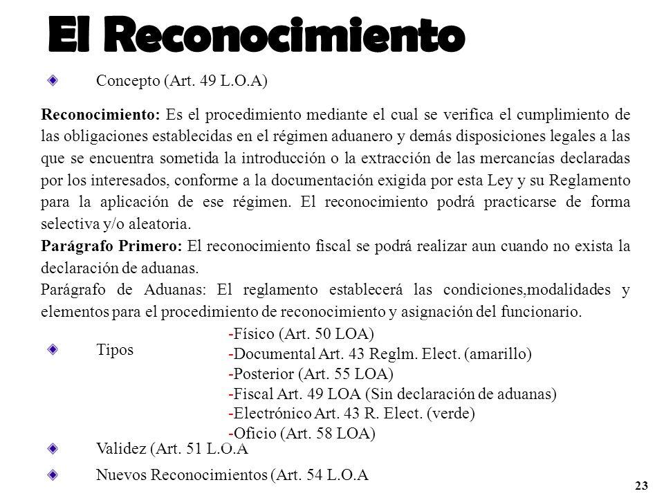 El Reconocimiento Concepto (Art. 49 L.O.A)