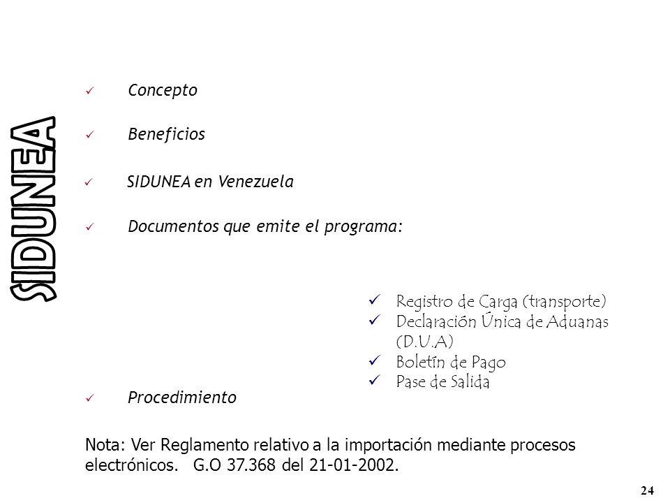 SIDUNEA Concepto Beneficios SIDUNEA en Venezuela