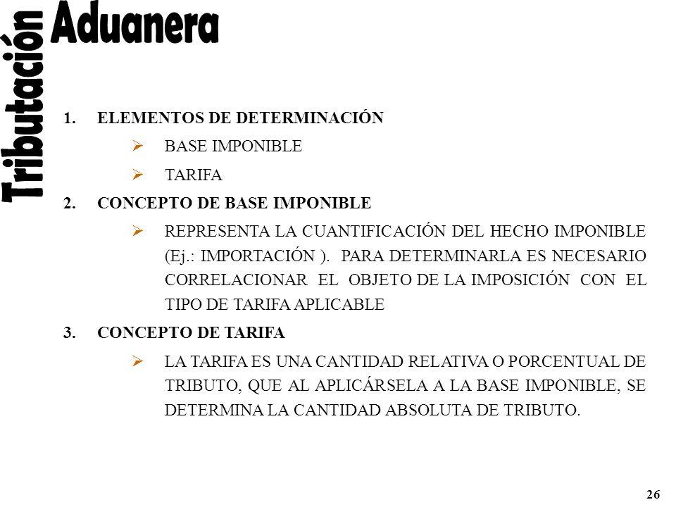 Aduanera Tributación ELEMENTOS DE DETERMINACIÓN BASE IMPONIBLE TARIFA