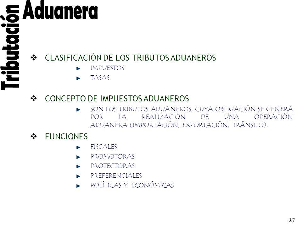 Aduanera Tributación CLASIFICACIÓN DE LOS TRIBUTOS ADUANEROS