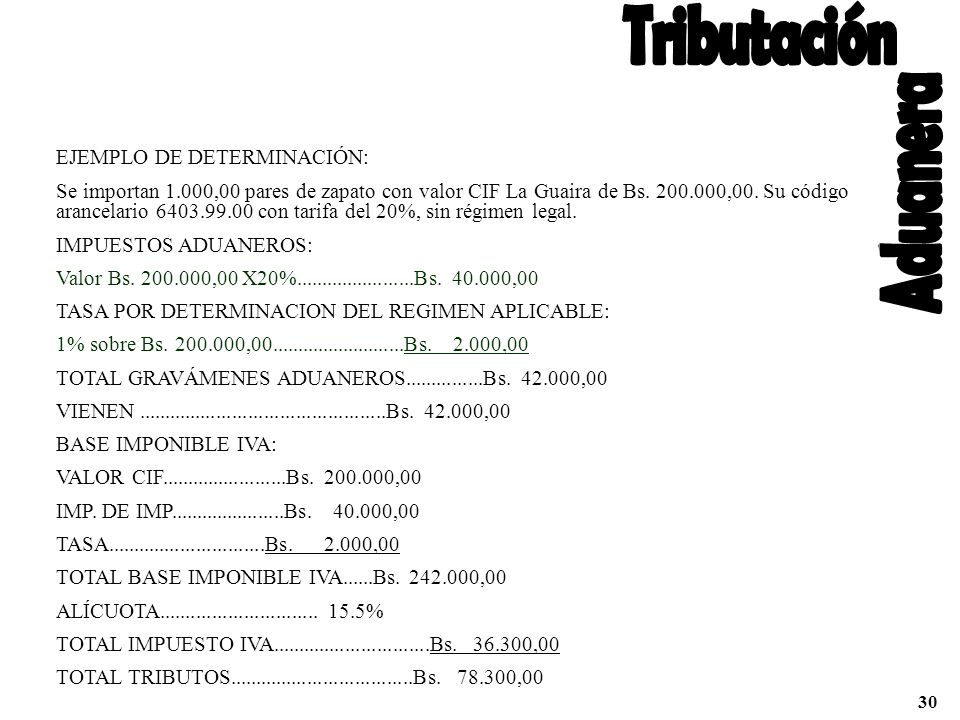 Tributación Aduanera EJEMPLO DE DETERMINACIÓN: