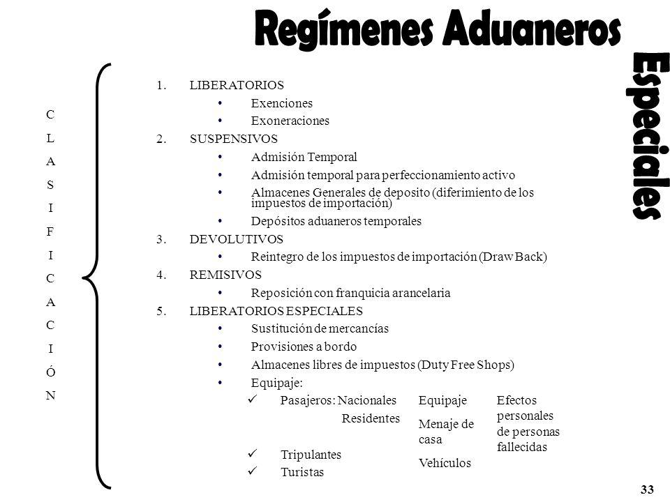 Regímenes Aduaneros Especiales LIBERATORIOS Exenciones Exoneraciones