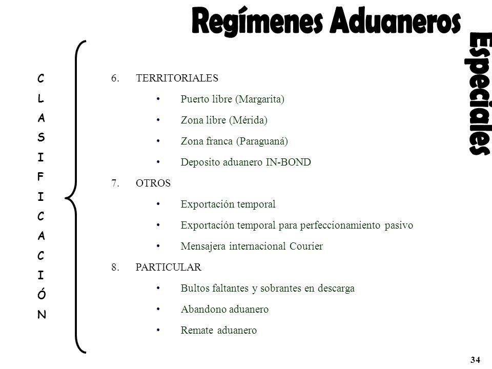 Regímenes Aduaneros Especiales C TERRITORIALES L