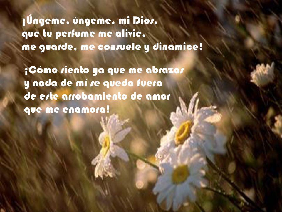 ¡Úngeme, úngeme, mi Dios, que tu perfume me alivie, me guarde, me consuele y dinamice! ¡Cómo siento ya que me abrazas.