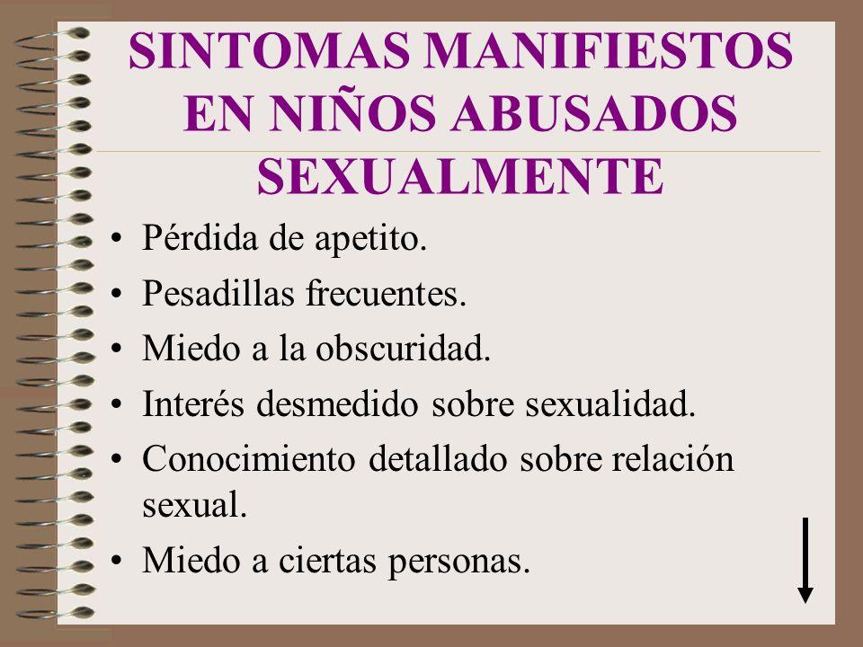 SINTOMAS MANIFIESTOS EN NIÑOS ABUSADOS SEXUALMENTE