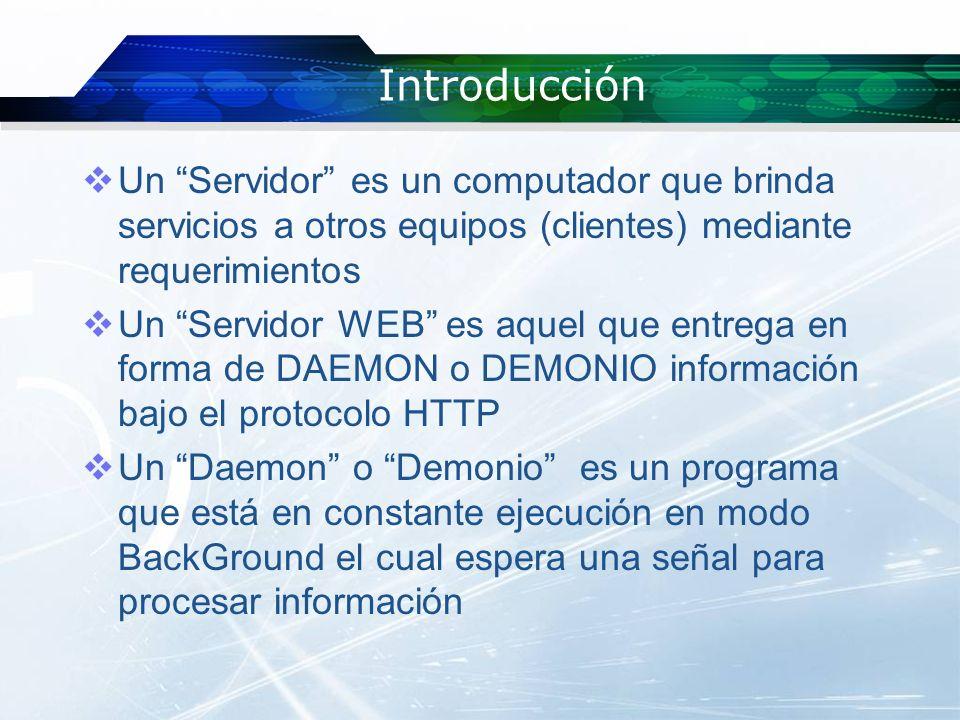 Introducción Un Servidor es un computador que brinda servicios a otros equipos (clientes) mediante requerimientos.