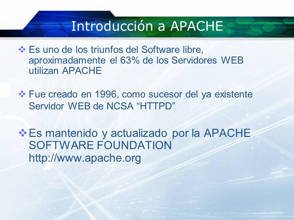 Introducción a APACHE Es uno de los triunfos del Software libre, aproximadamente el 63% de los Servidores WEB utilizan APACHE.