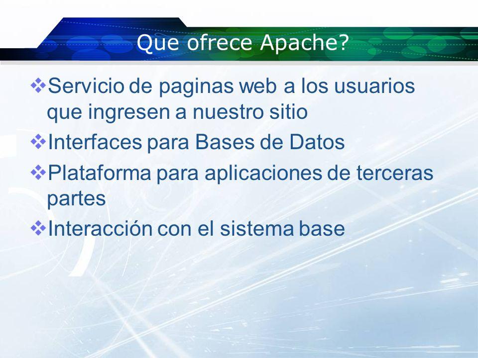 Que ofrece Apache Servicio de paginas web a los usuarios que ingresen a nuestro sitio. Interfaces para Bases de Datos.