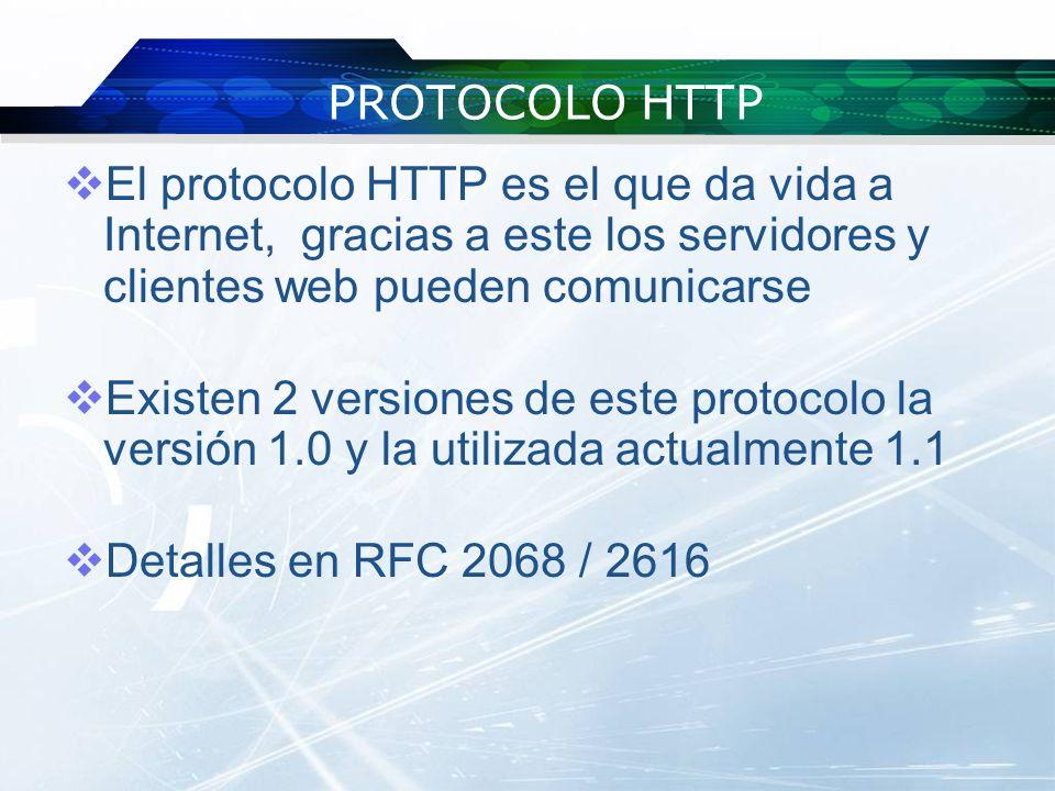 PROTOCOLO HTTP El protocolo HTTP es el que da vida a Internet, gracias a este los servidores y clientes web pueden comunicarse.