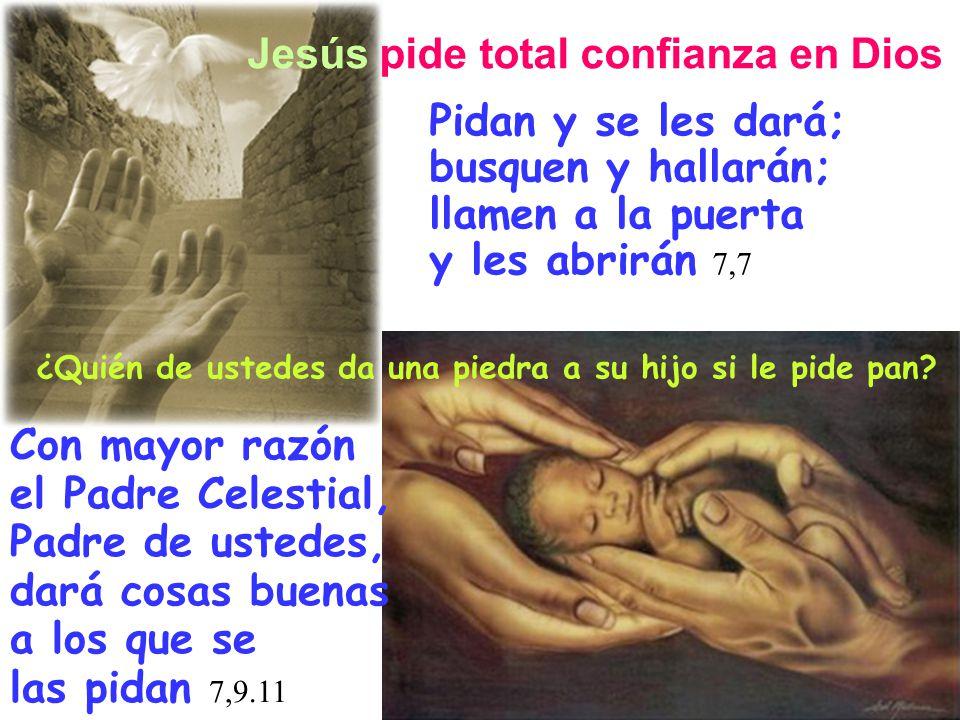 Jesús pide total confianza en Dios