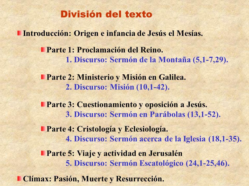División del texto Introducción: Origen e infancia de Jesús el Mesías.