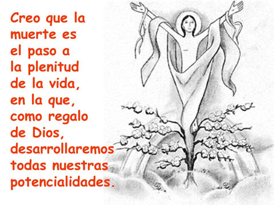 Creo que la muerte es. el paso a. la plenitud. de la vida, en la que, como regalo. de Dios, desarrollaremos.