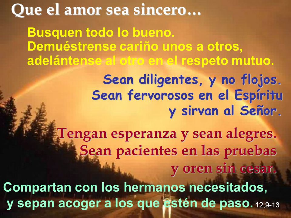 Que el amor sea sincero…