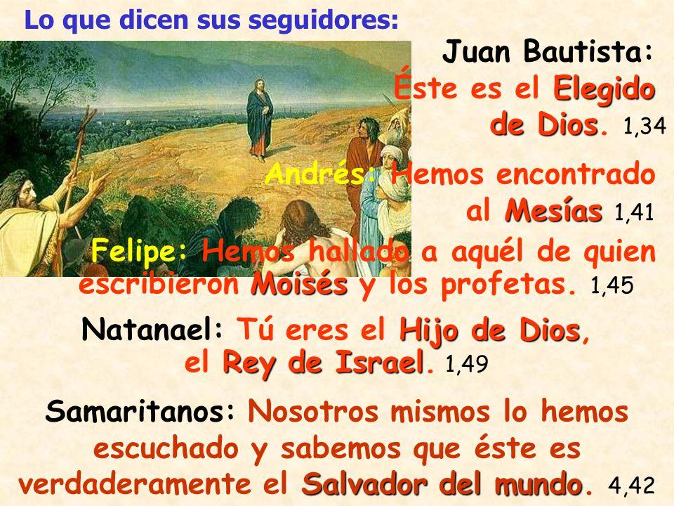 Natanael: Tú eres el Hijo de Dios, el Rey de Israel. 1,49