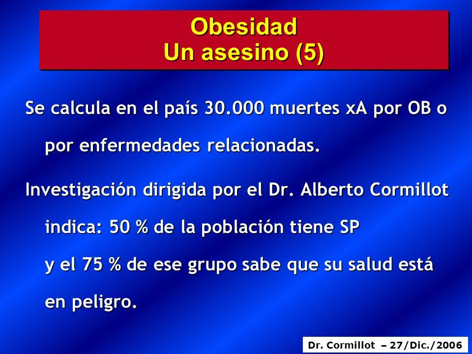 Obesidad Un asesino (5) Se calcula en el país 30.000 muertes xA por OB o por enfermedades relacionadas.