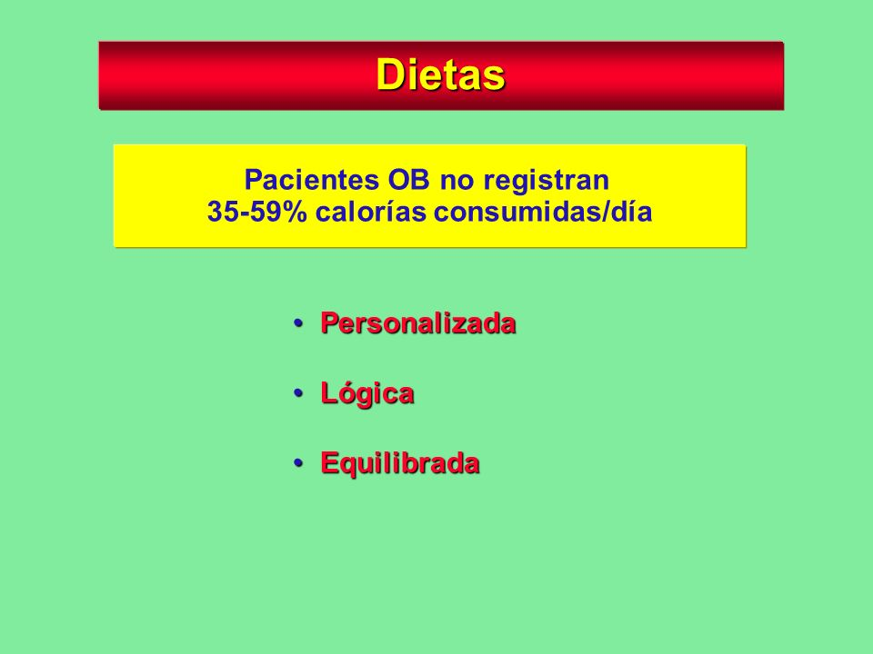 Pacientes OB no registran 35-59% calorías consumidas/día