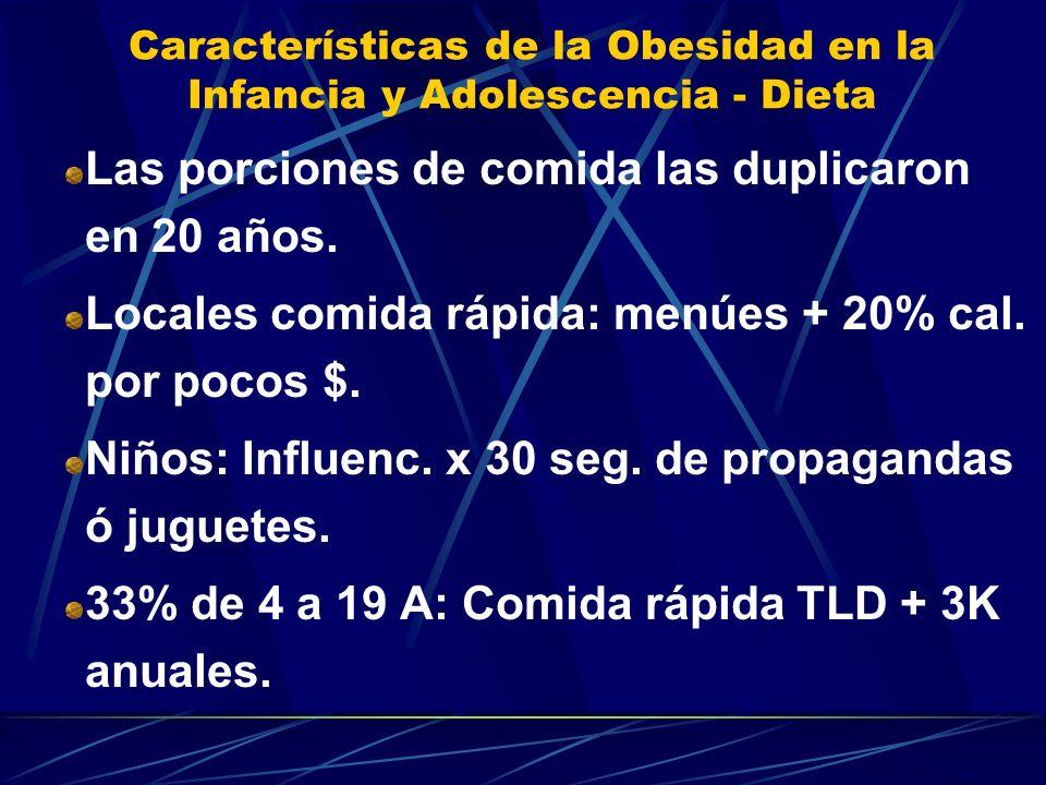Características de la Obesidad en la Infancia y Adolescencia - Dieta