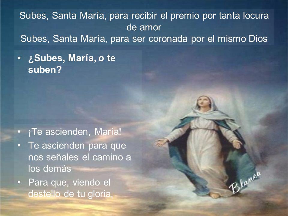 Subes, Santa María, para recibir el premio por tanta locura de amor Subes, Santa María, para ser coronada por el mismo Dios
