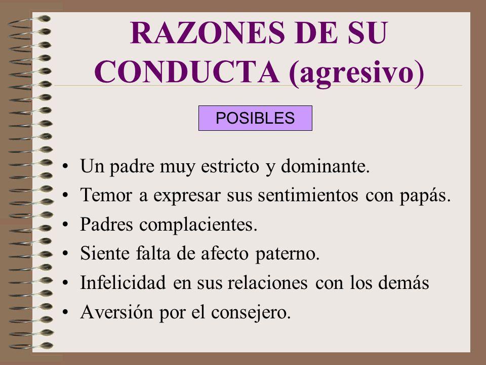 RAZONES DE SU CONDUCTA (agresivo)