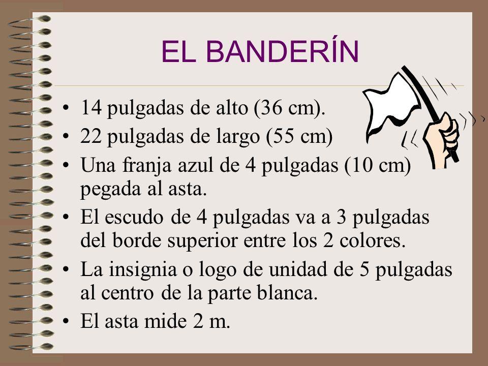 EL BANDERÍN 14 pulgadas de alto (36 cm). 22 pulgadas de largo (55 cm)