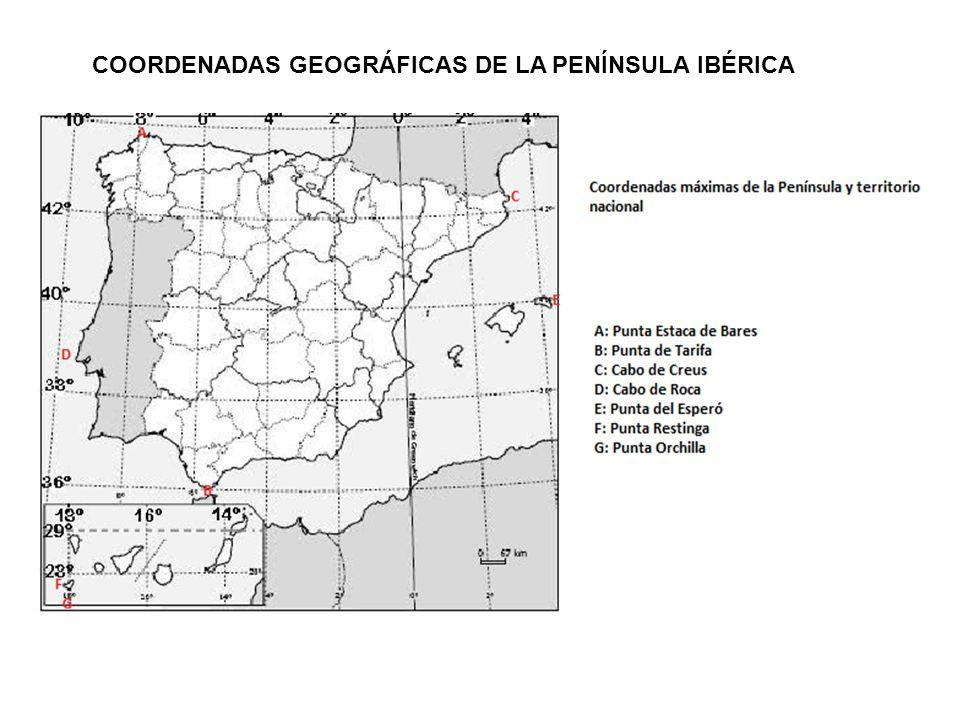 COORDENADAS GEOGRÁFICAS DE LA PENÍNSULA IBÉRICA