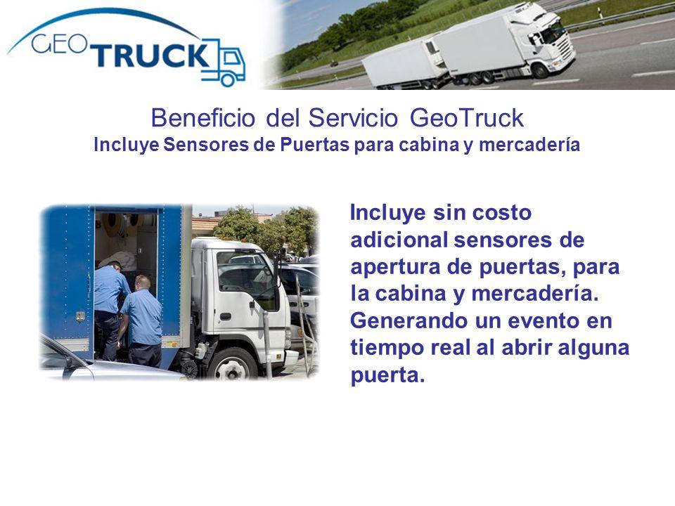 Beneficio del Servicio GeoTruck Incluye Sensores de Puertas para cabina y mercadería