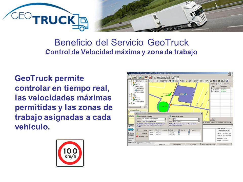 Beneficio del Servicio GeoTruck Control de Velocidad máxima y zona de trabajo