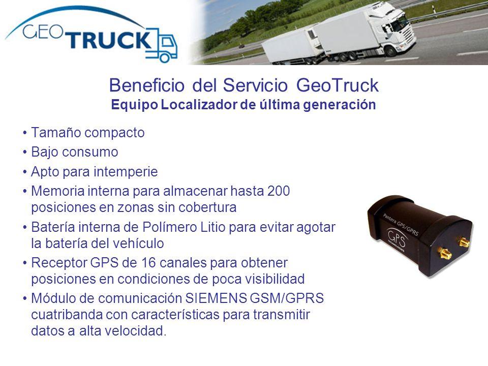 Beneficio del Servicio GeoTruck Equipo Localizador de última generación