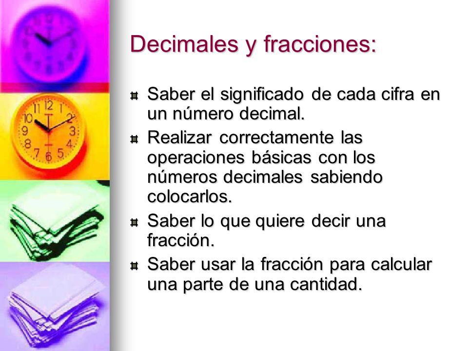 Decimales y fracciones: