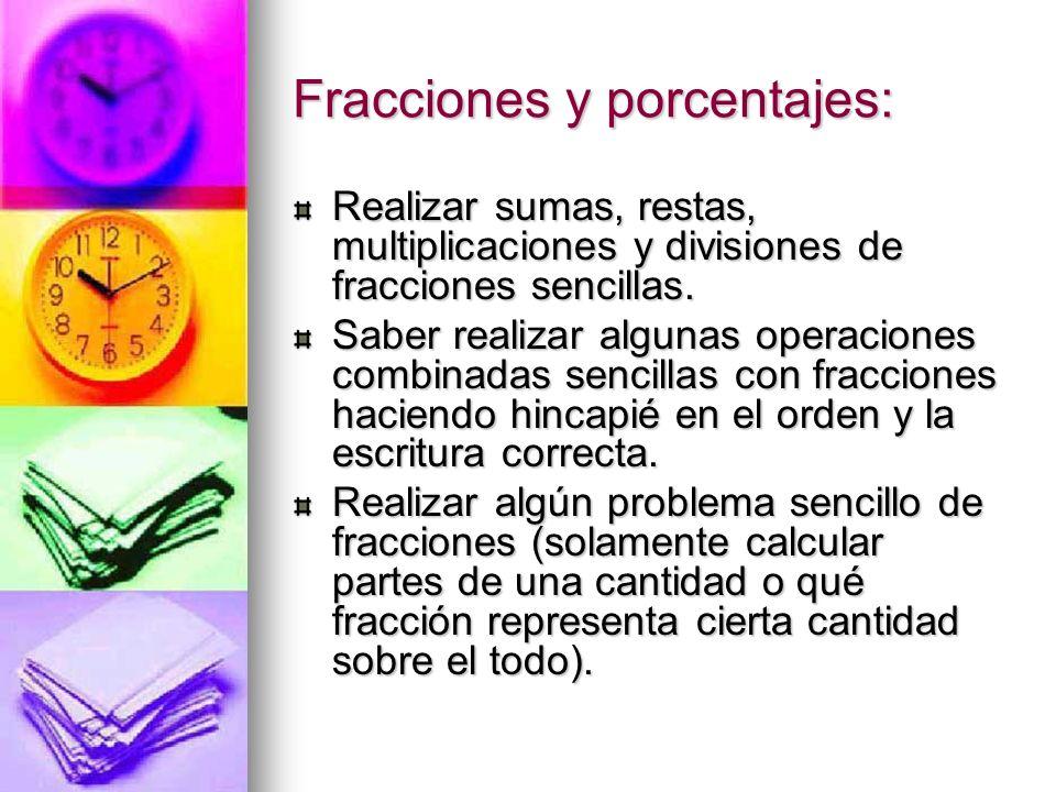 Fracciones y porcentajes: