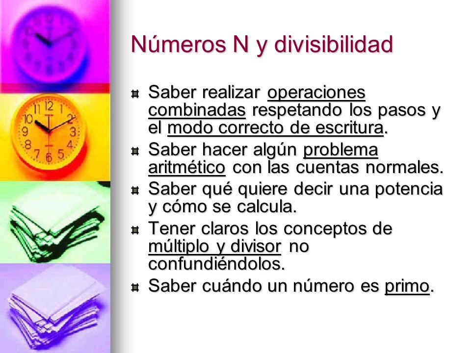 Números N y divisibilidad