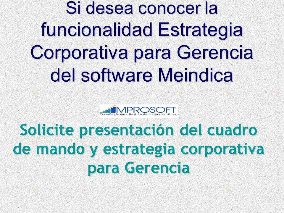 Si desea conocer la funcionalidad Estrategia Corporativa para Gerencia del software Meindica